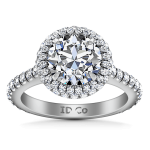 Round Diamond Halo Engagement Ring Blossom 14K White Gold
