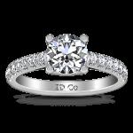 Round Diamond Pave Engagement Ring Zoe 14K White Gold