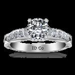 Round Diamond Pave Engagement Ring Flora 14K White Gold