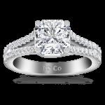 Pave Cushion Cut Diamond Engagement Ring Dahlia 14K White Gold