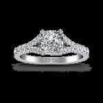 Pave Cushion Cut Diamond Engagement Ring Riverton 14K White Gold