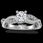 Round Diamond Pave Engagement Ring Maeve 14K White Gold