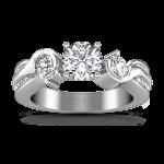 Round Diamond Three Stone Engagement Ring Cosette 14K White Gold