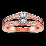 Pave Diamond Engagement Ring Season Pear 14K Rose Gold
