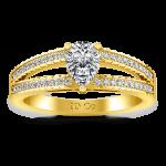 Pave Diamond EngagementRing Season Pear 14K Yellow Gold