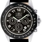 Invicta Speedway Quartz Watch – Black, Stainless Steel case with Black tone Leather band – Model 10707