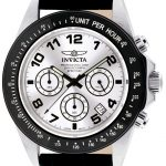 Invicta Speedway Quartz Watch – Black, Stainless Steel case with Black tone Leather band – Model 10708