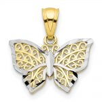 10k Yellow Gold Rhodium Butterfly Charm