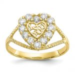 10k Yellow Gold CZ I Love You Heart Ring