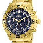 Invicta Specialty Quartz Watch – Gold case with Gold tone Stainless Steel band – Model 12844