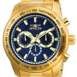 Invicta Speedway Men's Quartz Gold Tone Stainless Steel Case, Blue Dial – 21797