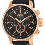 Invicta S1 Rally Quartz Watch – Rose Gold case with Black tone Leather band – Model 16013