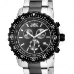 Invicta Specialty Mens Quartz 45mm Black case with Steel, Black tone Stainless Steel band – Model 17068
