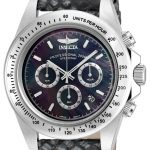 Invicta Speedway Quartz Watch – Stainless Steel case with Black tone Leather band – Model 18394