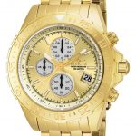 Invicta Aviator Quartz Watch – Gold case with Gold tone Stainless Steel band – Model 18854