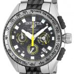 Invicta S1 Rally Quartz Watch – Stainless Steel case with Steel, Black tone Stainless Steel band – Model 18929