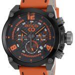 Invicta Corduba Quartz Watch – Black, Gunmetal case with Orange tone Leather band – Model 18933