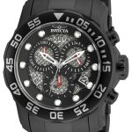 Invicta Pro Diver Quartz Watch – Black case with Black tone Stainless Steel band – Model 19838