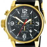 Invicta I-Force Quartz Watch – Gold case with Black tone Leather band – Model 20135
