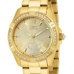 Invicta Angel Quartz Watch – Gold case with Gold tone Stainless Steel band – Model 21384