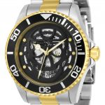Invicta Pro Diver Mens Automatic 43mm Stainless Steel, Gold Case Black Dial – Model 22042