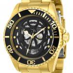 Invicta Pro Diver Mens Automatic 43mm Gold Case Black Dial – Model 22043