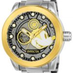 Invicta Disney Limited Edition Mickey Mouse Men's Automatic 50mm Stainless Steel, Gold Case Gold, Silver Dial – Model 22743