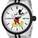 Invicta Disney Limited Edition Mickey Mouse Men's Quartz 43mm Stainless Steel, Black Case Silver Dial – Model 22773
