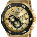 Invicta Pro Diver Men's Quartz Gold Case, Gold Dial – 22789