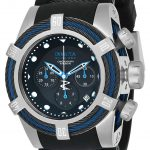 Invicta Bolt Tri-Cable Mens Quartz 53mm Stainless Steel, Black, Blue Case Black Dial – Model 23051