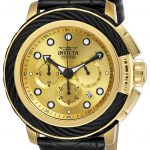 Invicta Bolt Elegant Mens Quartz 52mm Gold, Black Case Gold Dial – Model 24442
