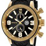 Invicta Jason Taylor Mens Quartz 52mm Gold, Black Case Black Dial – Model 25187