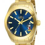 Invicta Disney Limited Edition Mickey Mouse Mens Quartz 42mm Gold Case Blue Dial – Model 25241