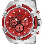 Invicta Bolt Mens Quartz 52mm Stainless Steel Case Red Dial – Model 25514