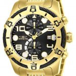 Invicta Bolt Mens Quartz 51mm Gold Case Black Dial – Model 25550