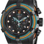 Invicta Jason Taylor Mens Quartz 53mm Black, Blue, Orange Case Black Dial – Model 25615