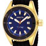 Invicta Pro Diver Mens Automatic 46mm Gold, Black Case Blue Dial – Model 26025
