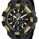Invicta Bolt Mens Quartz 50mm Black, Gold Case Black Dial – Model 26676