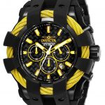 Invicta Bolt Mens Quartz 50mm Black, Yellow Case Black Dial – Model 26678