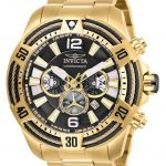 Invicta Bolt Mens Quartz 53mm Gold Case Black Dial – Model 27266