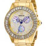 Invicta Angel Womens Quartz 38mm Gold Case Pave, Charcoal Dial – Model 28449