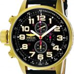 Invicta I-Force Quartz Watch – Gold case with Black tone Leather band – Model 3330