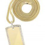 10K Yellow Gold Dog Tag Diamond Pendant & Franco Chain / 2.42 Carats