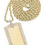 10K Yellow Gold Dog Tag Diamond Pendant & Rope Chain / 3.82 Carats