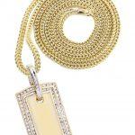10K Yellow Gold Dog Tag Diamond Pendant & Franco Chain / 1.77 Carats
