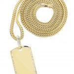 10K Yellow Gold Dog Tag Diamond Pendant & Franco Chain / 1.47 Carats