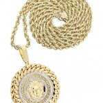 10 Yellow Gold Versace Diamond Pendant & Rope Chain / 1.36 Carats