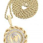 10 Yellow Gold Jesus Head Diamond Pendant & Rope Chain / 1.7 Carats