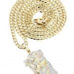 10K Yellow Gold Jesus Head Diamond Pendant & Cuban Chain / 0.66 Carats
