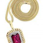 10K Yellow Gold Ruby Diamond Pendant & Franco Chain / 1.43 Carats